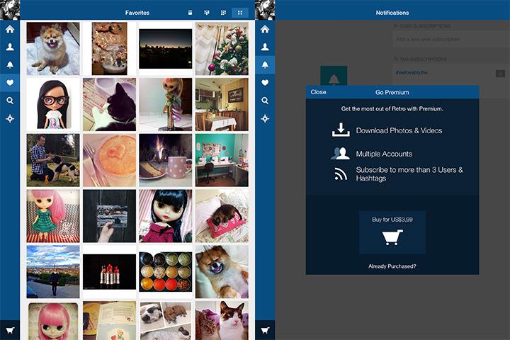 Exibição das fotos que curti e a opção da versão premium